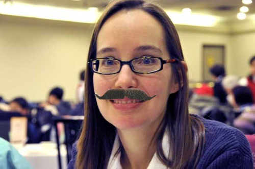 Lisa with a moustache