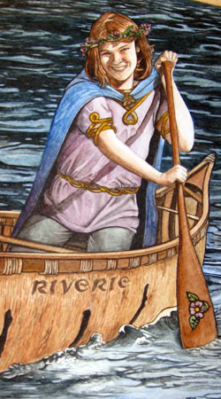 Detail of a princess paddling a boat on the water