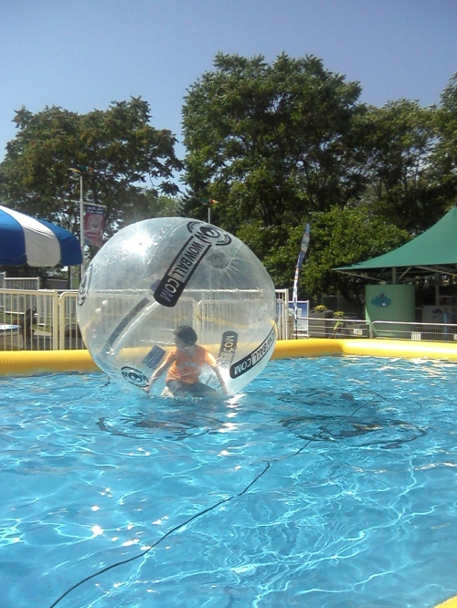 Photo of girl inside transparent plastic ball, floating on a pool
