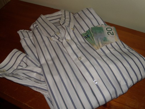 Stuffing money in shirts… is this a thing that guys do? Should I be going through my hubby's wardrobe?
