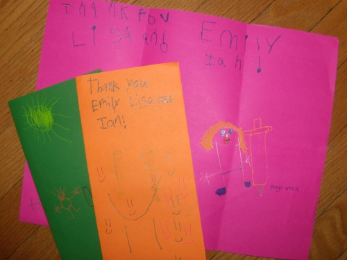 Highly enjoyable thank-you notes from three of the kids who've benefited from our many toy giveaways this month. Notice the beautifully rendered pogo-stick image. That's what you call appreciation.