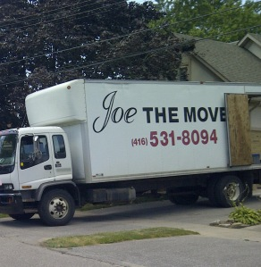 Recent moving truck on our street: Let's assume Joe is happy with the free publicity…