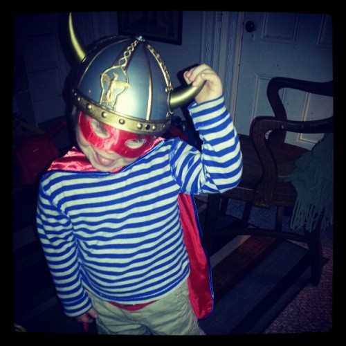 Kari's son in costume: I'm trying to guess his superpower… a smile warm enough to melt icebergs, maybe?