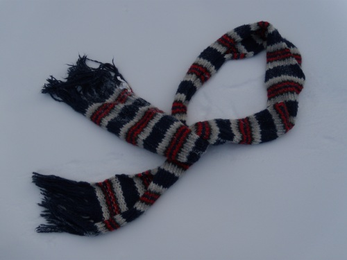 Yes, okay, I admit this scarf is store-bought. I can't knit worth a darn… (get it?)