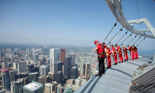 The CN Tower EdgeWalk: My own Fearless Challenge is just looking at this picture. Oh my. (Photo copyright of Canada Lands Company CLC Ltd.)