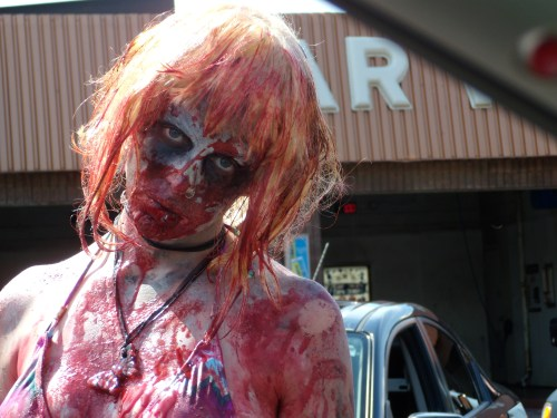 Getting blood-covered zombies to wash your car is, uh, kind of like vacuuming your entire house wearing muddy rainboots.